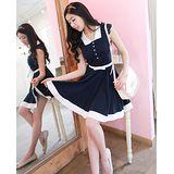【韓系女衫】甜美白色拼接氣質修身連衣裙+腰帶