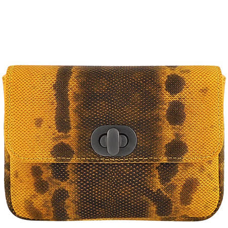 BOTTEGA VENETA 黃色蟒蛇紋真皮編織壓紋宴會包
