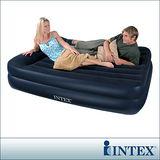 【INTEX】舒適雙層雙人特大充氣床墊(寬152CM)-內建電動幫浦