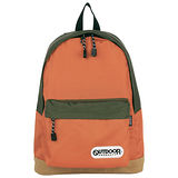 OUTDOOR 創意拼貼橘綠雙色後背包-橘綠