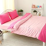 J‧bedtime【愛戀馬卡龍-草莓蛋糕】雙人四件式防蹣抗菌被套床包組