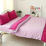 J‧bedtime【愛戀馬卡龍-覆盆莓麵包】雙人四件式防蹣抗菌被套床包組