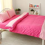 J‧bedtime【愛戀馬卡龍-玫瑰千層派】單人三件式防蹣抗菌被套床包組