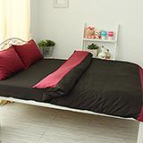 J‧bedtime【愛戀馬卡龍-蘋果布朗尼】雙人四件式防蹣抗菌被套床包組