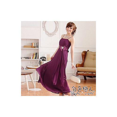【白色戀人大尺碼】紫色亮片鑲鑽蝴蝶結長禮服