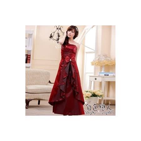 【白色戀人大尺碼】酒紅色斜肩亮片華麗長禮服