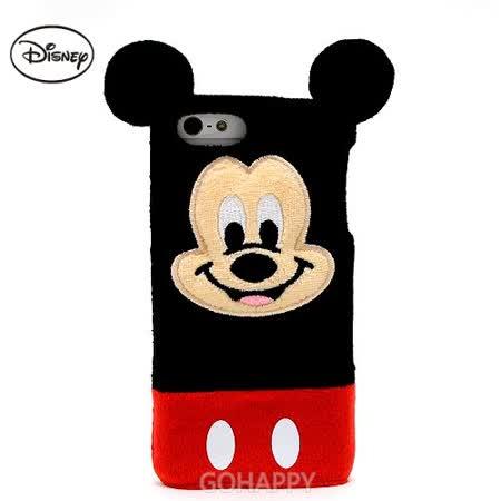 日本進口Disney iphone5【快樂米奇】3D絨毛硬式手機背蓋