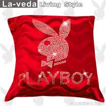 La Veda【PLAYBOY】時尚美鑽方型抱枕-紅色(50x50CM)