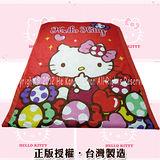 日本三麗鷗卡通系列寢具【HELLO KITTY-彩虹糖樂園(紅)】單人春夏涼被