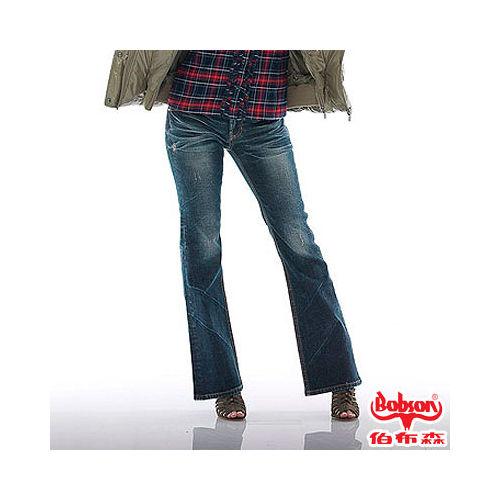 BOBSON 女款代言亮片刺繡小喇叭褲^(9089~52^)