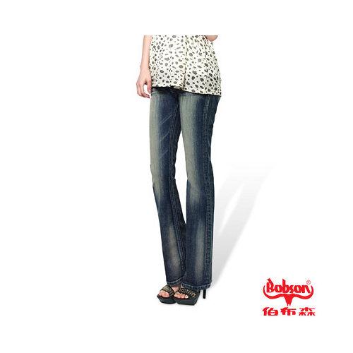 BOBSON 女款燙貼鋁片小喇叭褲^(9078~53^)