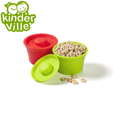 美國Kinderville寶寶矽膠小容器 (一組2入, 紅色+綠色)