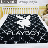 La Veda【PLAYBOY】刷毛薄毯-經典黑白 120x150公分