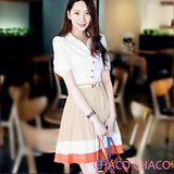 現貨【CHACO韓國】亮彩配色抓折裙擺短袖連身洋裝+皮帶CLDB-O-18 米色ML
