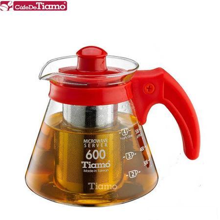 Tiamo 兩用耐熱玻璃壺-附不鏽鋼濾網 600cc (紅色) HG2216R