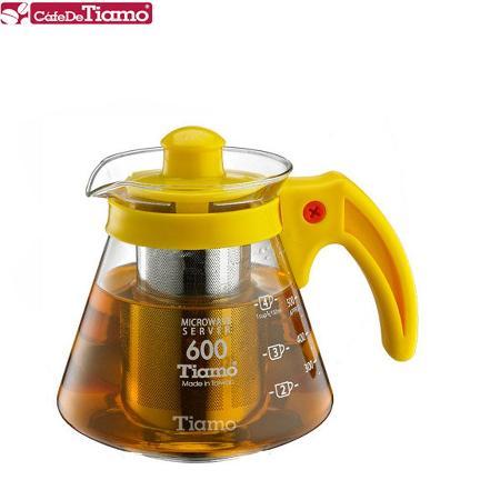 Tiamo 兩用耐熱玻璃壺-附不鏽鋼濾網 600cc (黃色) HG2216Y