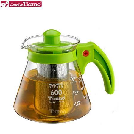 Tiamo 兩用耐熱玻璃壺-附不鏽鋼濾網 600cc (綠色) HG2216G