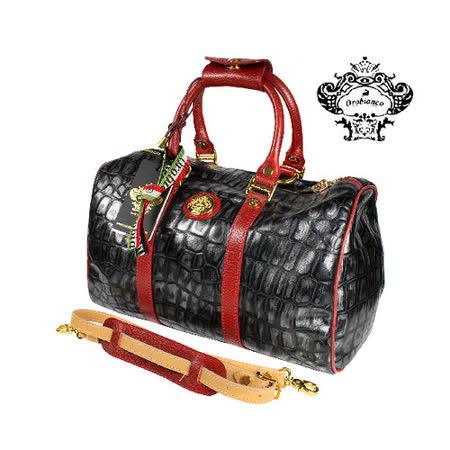 【OROBIANCO】驚豔黑牛皮壓紋波士頓包(O5233-A)