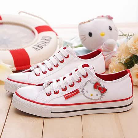 【童鞋城堡】Hello kitty三麗鷗百貨限量基本款icon百搭帆布鞋{台灣製造}910820