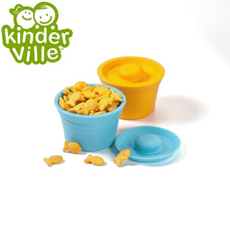 美國Kinderville寶寶矽膠小容器 (一組2入, 藍色+橙色)