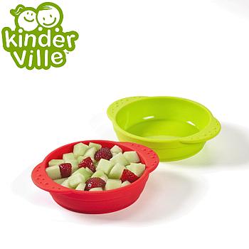 美國Kinderville寶寶矽膠小碗 (一組2入, 紅色+綠色)