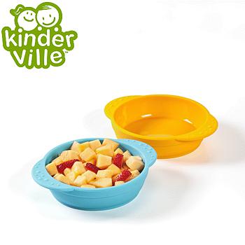 美國Kinderville寶寶矽膠小碗 (一組2入,藍色+橙色)