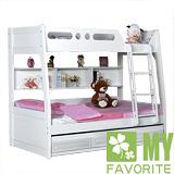 最愛傢俱 歐樂雅 雙層床+子拉床+記憶床墊 (白色歐風款式)