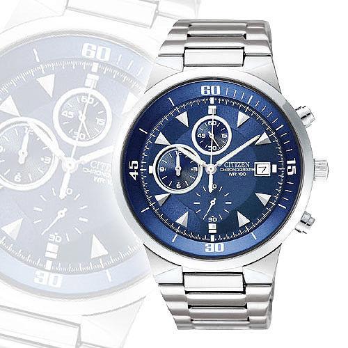 CITIZEN 狩獵者三眼計時碼錶~藍 AN3370~57L