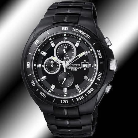 CITIZEN 與天競速百米防水三眼計時腕錶-IP黑 AN4019-52E