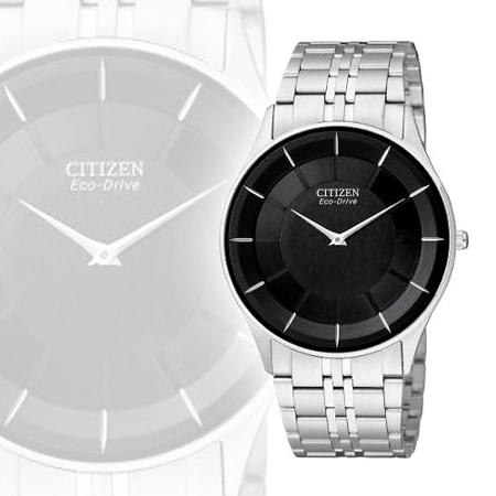 CITIZEN 中性簡約光動能超薄腕錶-黑 AR3010-65E