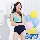 【SUMMERLOVE 夏之戀】涼夏熟女風連身三角泳衣E11785