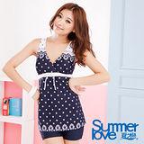 【SUMMER LOVE夏之戀】浪漫蕾絲印花連身四角泳衣S13723