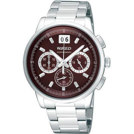 WIRED 大視窗三眼計時腕錶-咖啡/銀 VK73-X004R