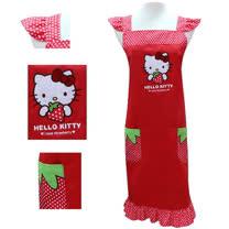 Hello Kitty紅色草莓荷葉袖圍裙KT-0906A