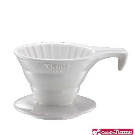 Tiamo V01 長柄 陶瓷咖啡濾杯組【白色】附濾紙.量匙 1-2杯份 (HG5533 W)