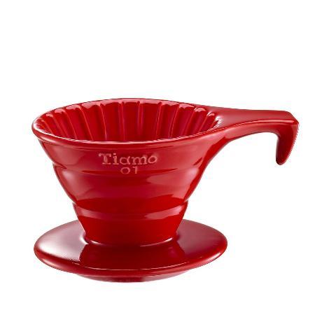 Tiamo V01 長柄 陶瓷咖啡濾杯組【紅色】附濾紙.量匙 1-2杯份 (HG5533 R)