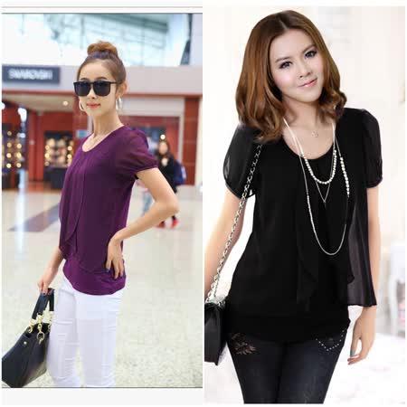 【韓系女衫】韓系設計 修身顯瘦款雪紡上衣 (共二色)