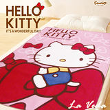 La Veda【Hello Kitty】蝴蝶結刷毛毯