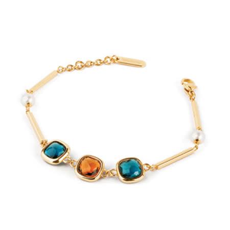 【brosway】Catherine Square Edition 不鏽鋼鍍金施華洛世奇2顆珍珠3顆天然寶石手鍊