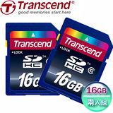 創見 16GB SDHC Class10 記憶卡-二入組