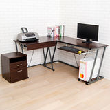 BuyJM 卡特加大L型電腦桌(附主機架+檔案櫃)