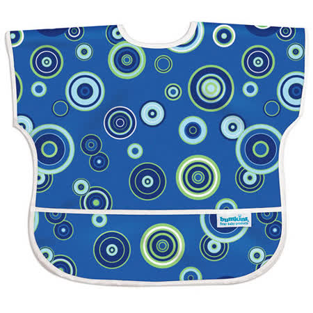 美國Bumkins防水兒童圍兜(短袖)-藍色普普風 BKU430