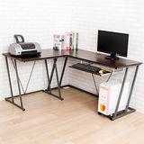 BuyJM 雷恩L型電腦桌(附主機架)-胡桃色