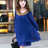 【公主衣櫃 中大碼】百摺層次感洋裝-預購藍色MS2311