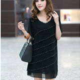 【公主衣櫃 中大碼】百摺層次感洋裝-預購黑色MS2312
