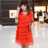 【公主衣櫃 中大碼】百摺層次感洋裝-預購橘色MS2312