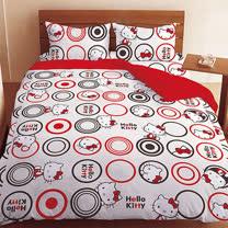 【享夢城堡】HELLO KITTY我愛普普系列-純棉雙人四件式床包被套組(紅)