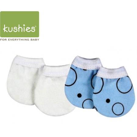 Kushies 嬰兒防抓小手套 (藍色圓圓+經典純白/一組兩雙)