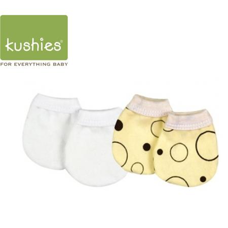 Kushies 嬰兒防抓小手套 (黃色圓圓+經典純白/一組兩雙)
