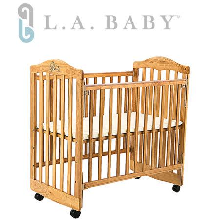 L.A.Baby美國加州貝比/蒙特維爾美夢熊嬰兒小床/木床/原木床(原木色)